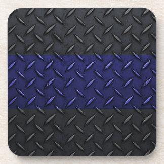 Police Thin Blue Line Diamond Plate Design Drink Coasters