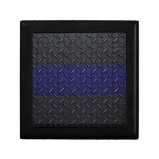 Police Thin Blue Line Diamond Plate Keepsake Box