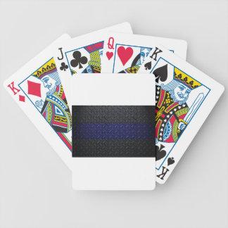 Police Thin Blue Line Diamond Plate Poker Cards