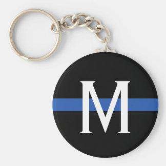 Police Thin Blue Line Monogram Key Ring