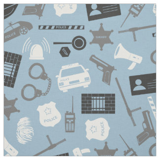 Police Tools and Symbols Blue Fabric