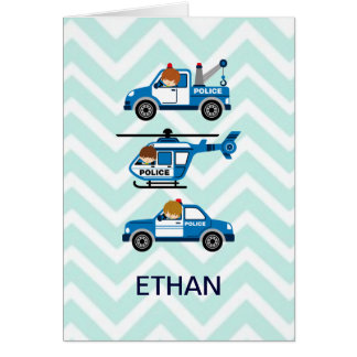 Police Trucks Helicopter Vehicles on Chevron Greeting Card