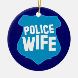 Police WIFE with officers badge shield Christmas Ornament