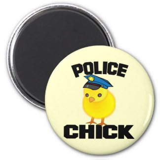Police Woman 6 Cm Round Magnet