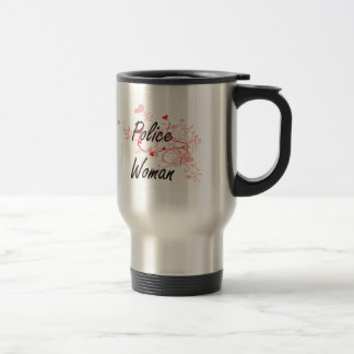 Police Woman Artistic Job Design with Hearts Stainless Steel Travel Mug