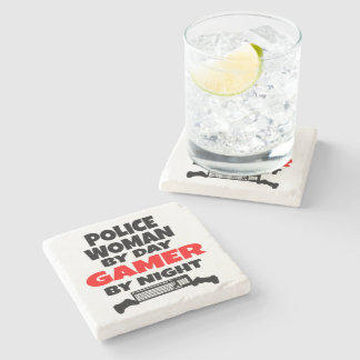 Police Woman by Day Gamer by Night Stone Coaster