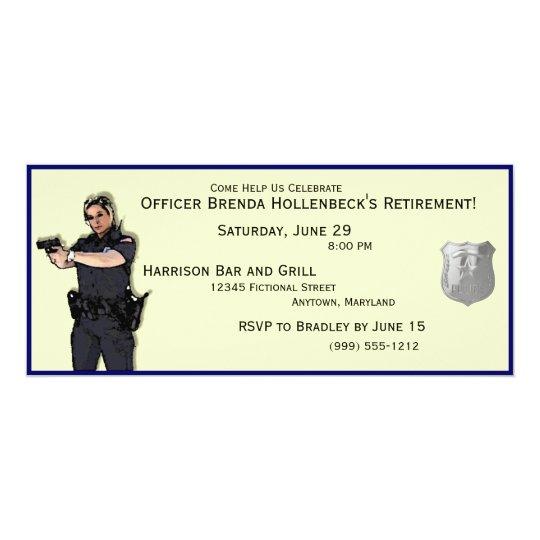 Police Woman Custom Retirement Party Invitations
