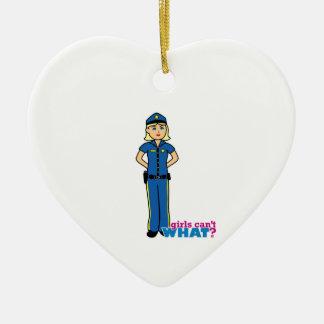 Police Woman - Light/Blonde Ceramic Heart Decoration