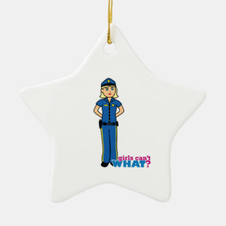 Police Woman - Light/Blonde Ceramic Star Decoration