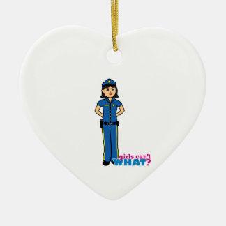 Police Woman - Medium Ceramic Heart Decoration