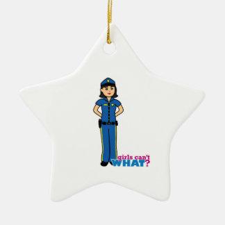 Police Woman - Medium Ceramic Star Decoration