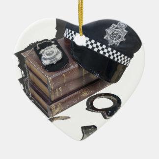 PoliceCrimeBooksHatBadgeHandcuffs042113.png Christmas Ornament