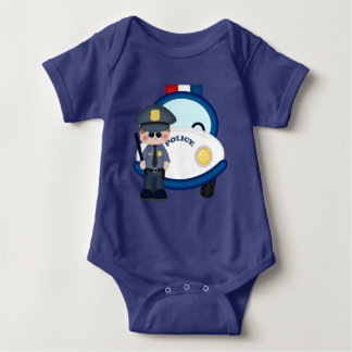 Policeman and car baby bodysuit
