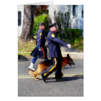 Policeman and Police Dog in Parade Greeting Card