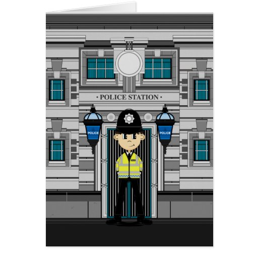 Policeman and Police Station Card