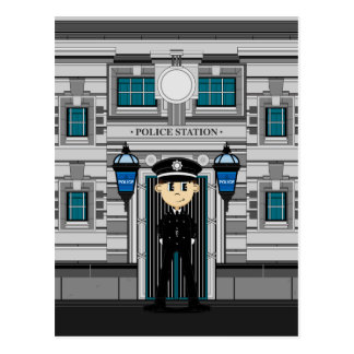 Policeman and Police Station Postcard