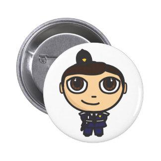 Policeman Cartoon Character Button Badge