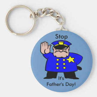 Policeman - Father's Day Basic Round Button Key Ring