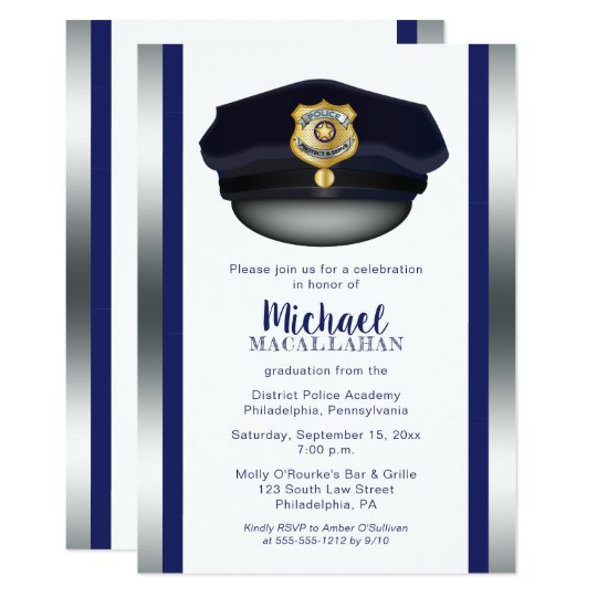 Policeman | Police | Cop Hat Graduation Party Card