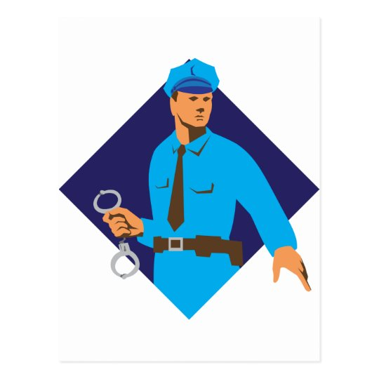 policeman police officer with handcuffs postcard