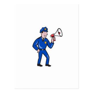 Policeman Shouting Bullhorn Isolated Cartoon Post Cards