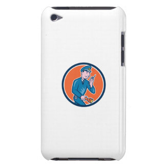 Policeman Torch Radio Circle Cartoon Barely There iPod Cases