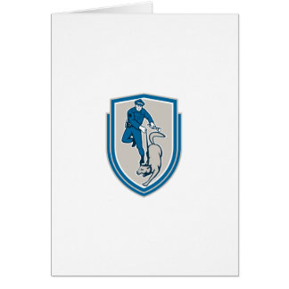Policeman With Police Dog Canine Crest Retro Card