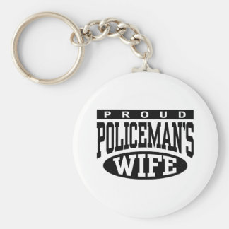 Policeman's Wife Basic Round Button Key Ring