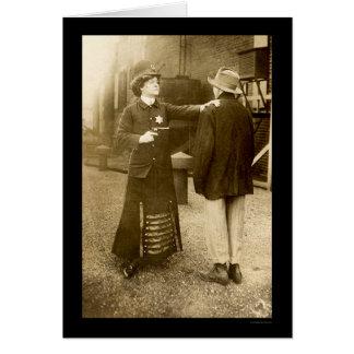Policewoman Making an Arrest 1909 Card