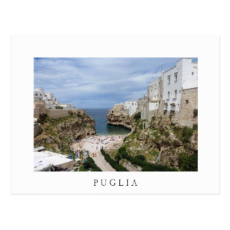 Polignano a Mare city beach, Puglia white postcard