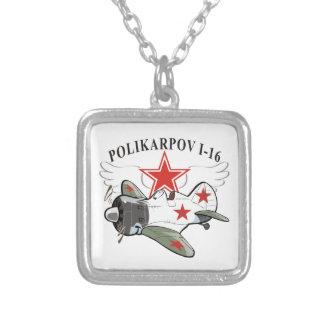 polikarpov i-16 square pendant necklace