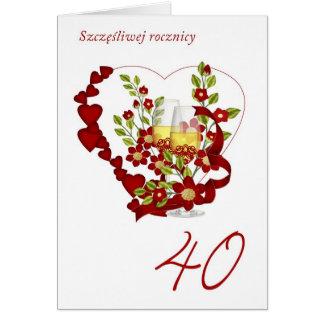 Polish 40th Wedding Anniversary With Champagne Greeting Card
