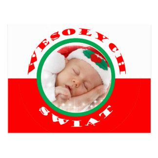 Polish-American Custom Photo Christmas Post Card