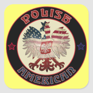 Polish American Eagle Square Sticker