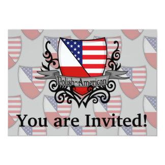 Polish-American Shield Flag 13 Cm X 18 Cm Invitation Card