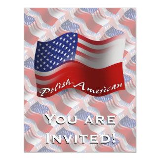 Polish-American Waving Flag 11 Cm X 14 Cm Invitation Card