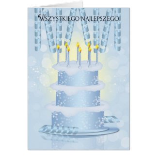 Polish Birthday Cake And Candles Card