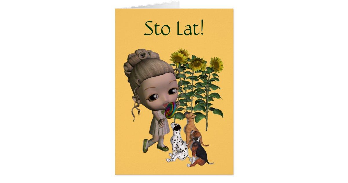 Polish Birthday Card Sto Lat Girl And Puppies
