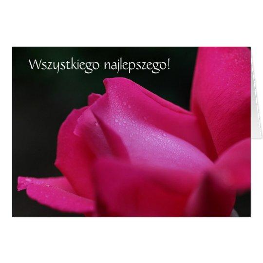 Polish Birthday Card Sto Lat Red Rose