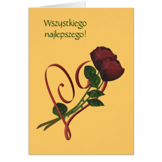 Polish Birthday Card Sto Lat Red Roses Heart