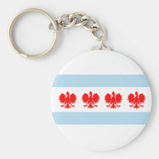 Polish Chicago Flag Basic Round Button Key Ring