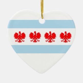 Polish Chicago Flag Ceramic Heart Decoration