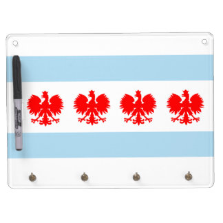 Polish Chicago Flag Dry Erase Board With Key Ring Holder