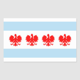Polish Chicago Flag Rectangular Sticker