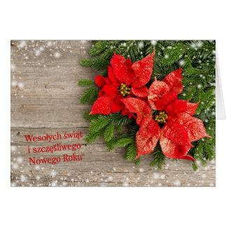 Polish Chrismas - Christmas tree with Poinsettias Greeting Card