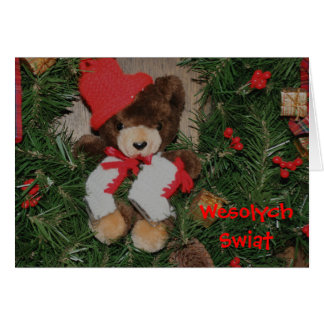 Polish Christmas Card Bear On Wreath