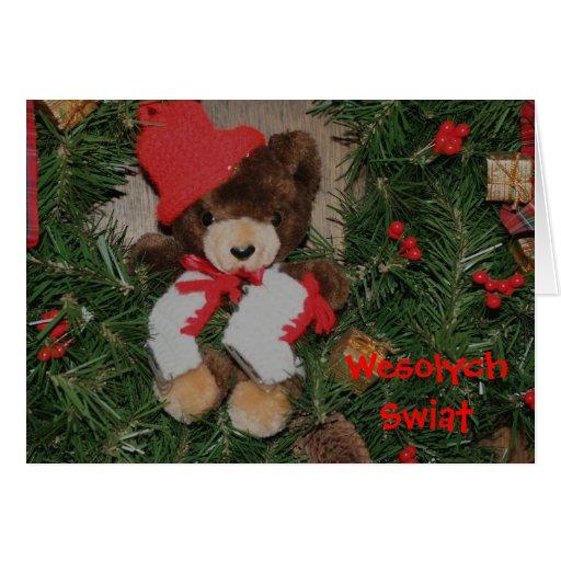 Polish Christmas Card Bear On Wreath