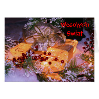 Polish Christmas Card Elegant Gift With Bow
