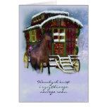 Polish Christmas Card - Horse And Old Caravan - We