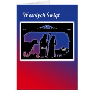 Polish Christmas Card, Manger Scene Card